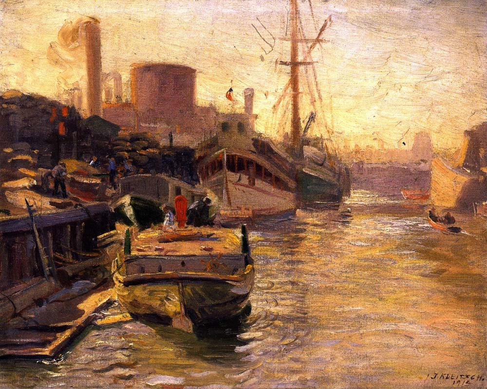Chicago River by Joseph Kleitsch | Modern Art Artists - Oil Paintings Gallery