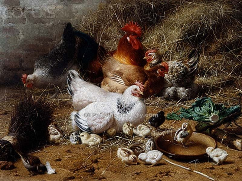 Chickens 70 by Eugene Remy Maes | Classical Paintings - Oil Paintings Gallery