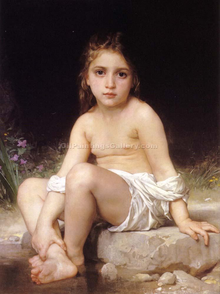 """Child at Bath"" by  Adolphe Bouguereau"