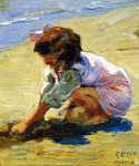 Child at the Beach by  Mathias J. Alten (Painting ID: ED-0092-KA)