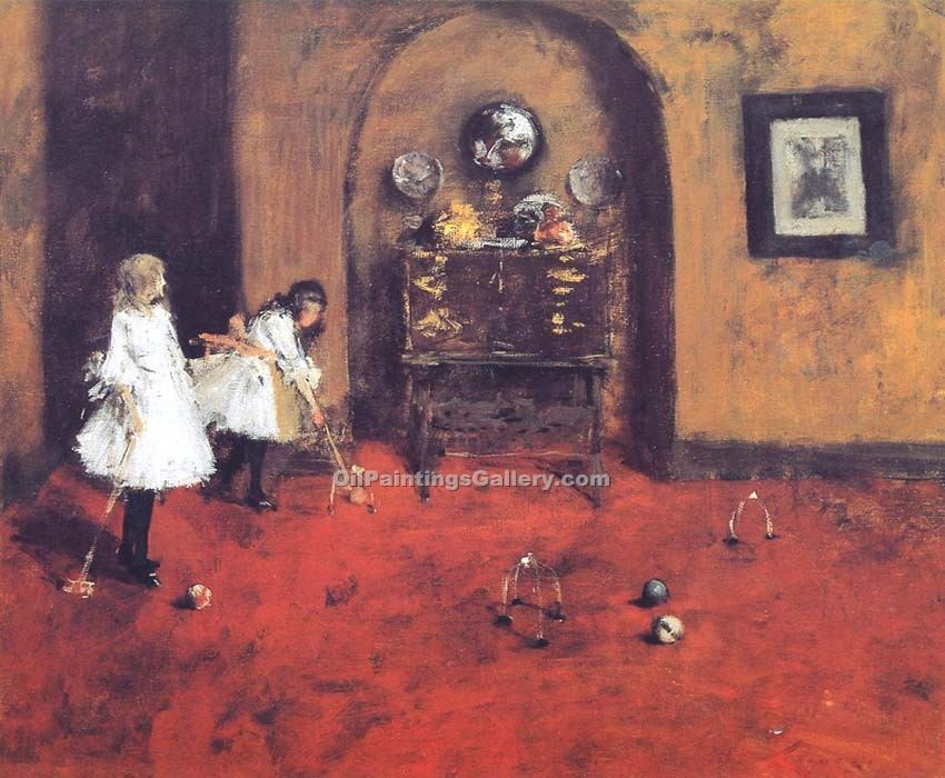 """Children Playing Parlor Croquet"" by  William Merritt Chase"