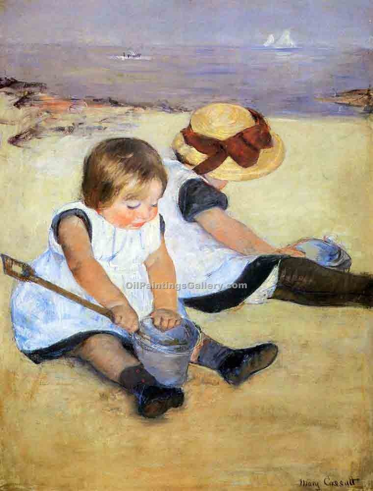 """Children Playing on the Beach"" by  Mary Cassatt"