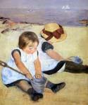 Children Playing on the Beach by  Mary Cassatt (Painting ID: EI-0020-KA)