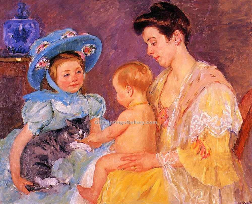 """Children Playing with a Cat"" by  Mary Cassatt"