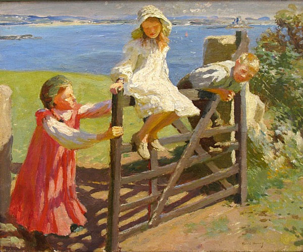 """Children Swinging on a Gate"" by  Harold Harvey"