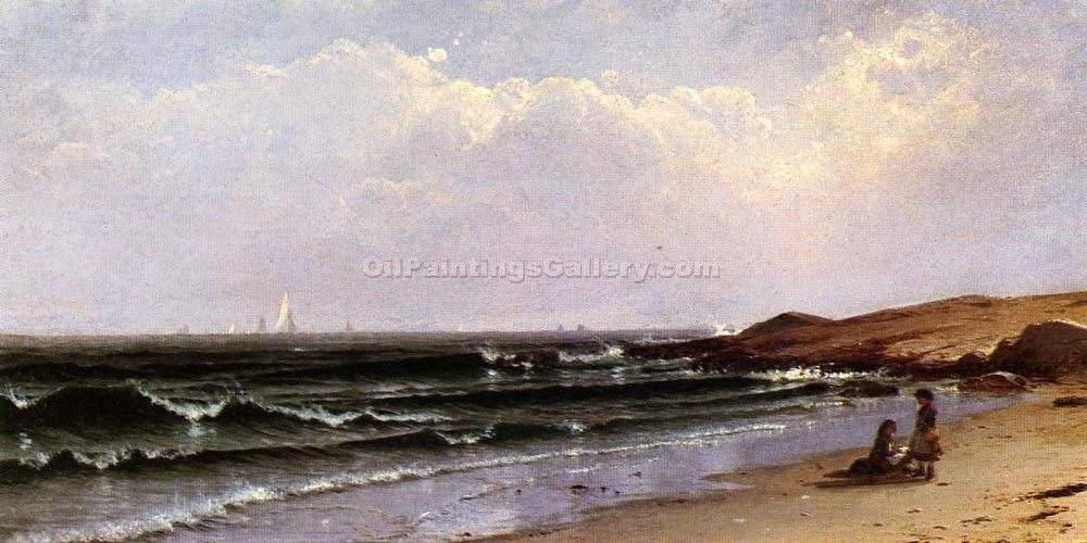 """Children at the Seashore"" by  Alfred Thompson Bricher"