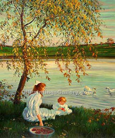 Buy Landscape with Figure Oil Painting Online - Post Impressionism Paintings - Children by Swan Lake