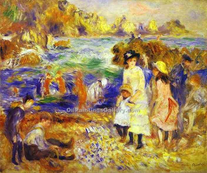 """Children on the Beach of Guernesey"" by  Pierre Auguste Renoir"