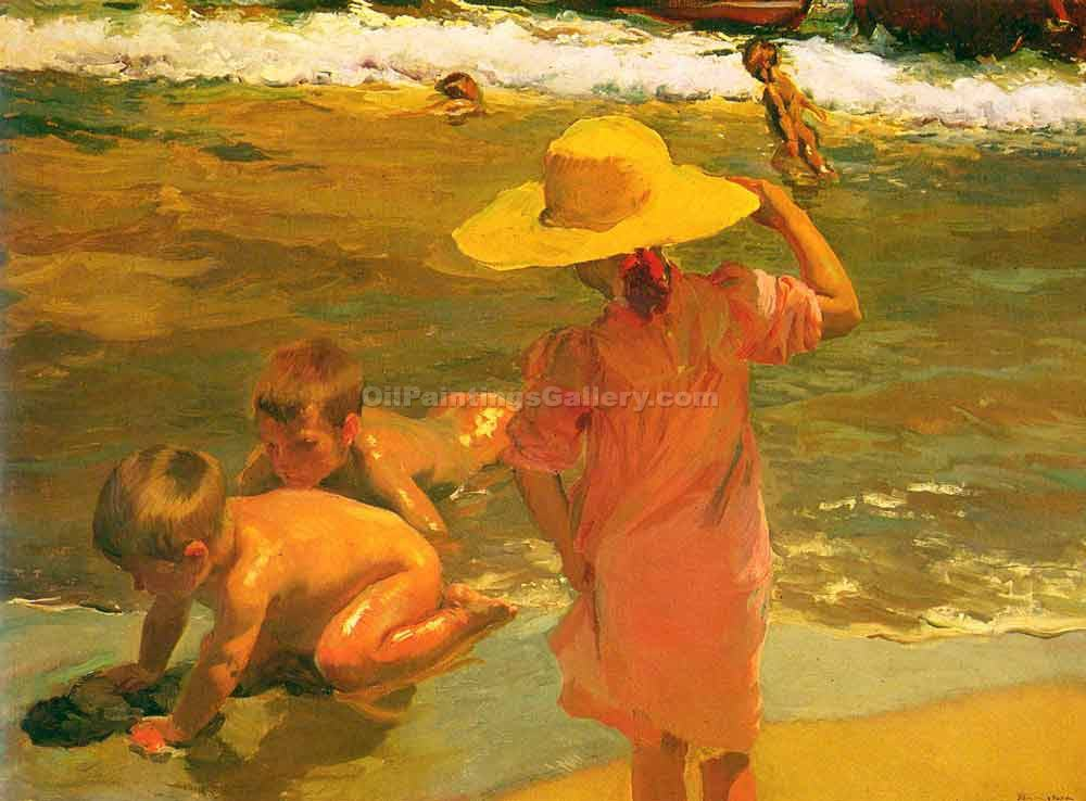 """Children on the Sea Shore"" by  Bastida Joaquin Sorolla"