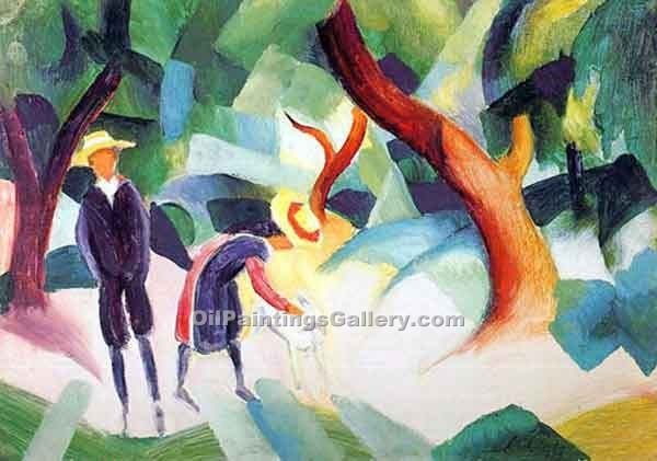 Children with a Goat by August Macke | Impressionism Paintings - Oil Paintings Gallery