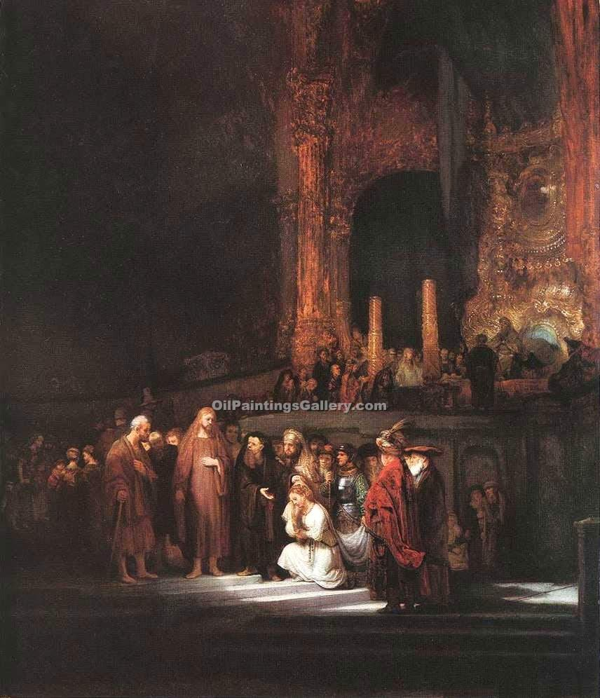"""Christ and the Woman Taken in Adultery"" by  Harmenszoonvan Van Rijn Rembrandt"