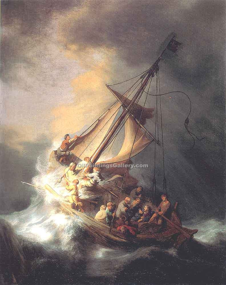 """Christ in the Storm on the Sea of Galilee 49"" by  Harmenszoonvan Van Rijn Rembrandt"
