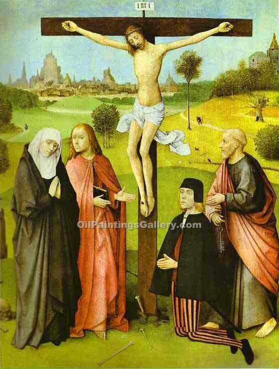 """Christ on Cross with Donors and Saints"" by  Hieronymus Bosch"