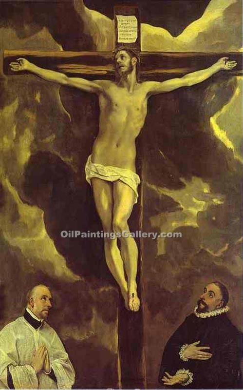 """Christ on the Cross Adored by Two Donors"" by  El Greco"