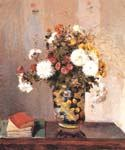 Chrysanthemums in a Chinese Vase by  Camille Pissarro (Painting ID: SL-0082-KA)