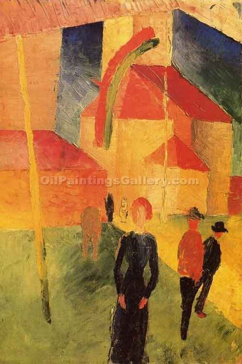 """Church with Flags"" by  August Macke"