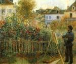 Claude Monet Painting in his Garden by  Pierre Auguste Renoir (Painting ID: CL-4521-KA)