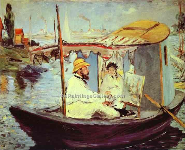 """Claude Monet Painting on His Studio Boat"" by  Edouard Manet"