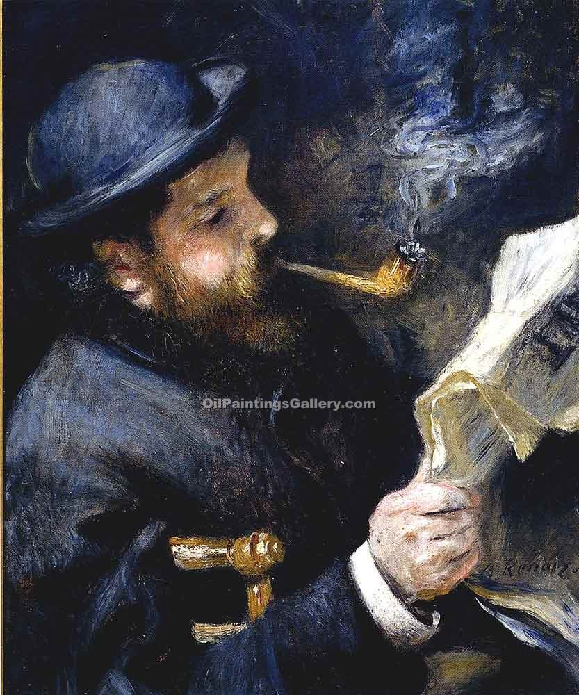 Claude Monet Reading A Newspaper by Pierre Auguste Renoir | Contemporary Abstract Painting - Oil Paintings Gallery