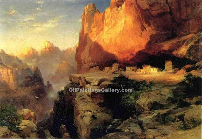 """Cliff Dwellers"" by  Thomas Moran"