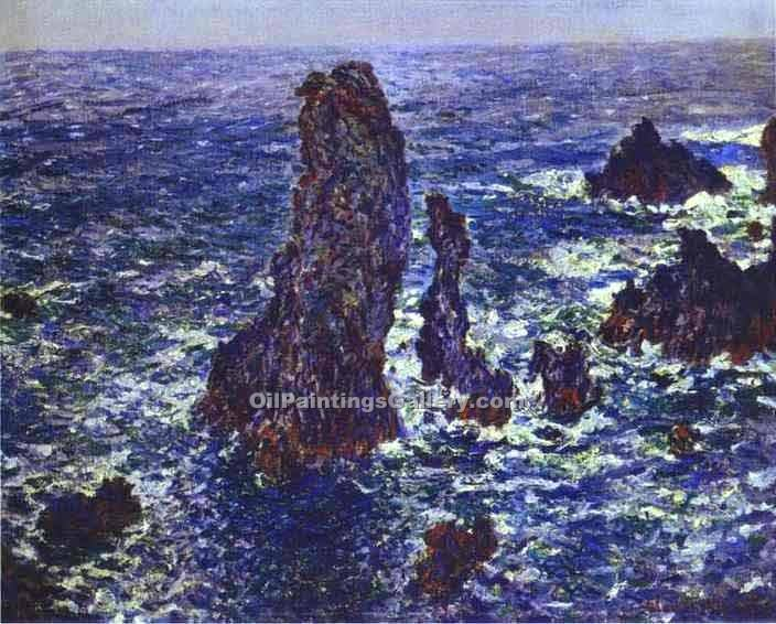 """Cliffs at Belle-Ile"" by  Claude Monet"