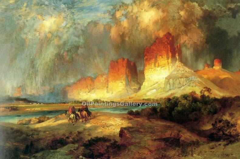 """Cliffs of the upper Colorado River Wyoming territory"" by  Thomas Moran"