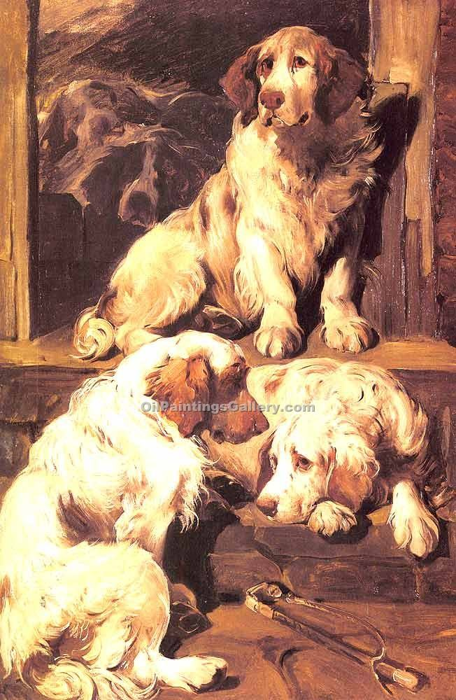 """Clumber Spaniels"" by  John Emms"
