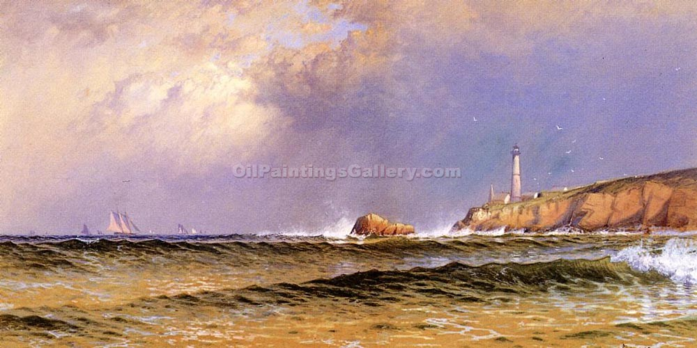 """Coastal Scene with Lighthouse 91"" by  Alfred Thompson Bricher"