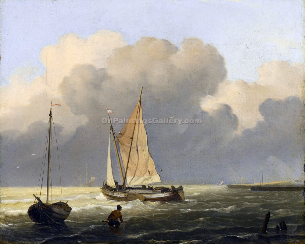 """Coastal Scene with a Barge"" by  Ludolf Backhuysen"