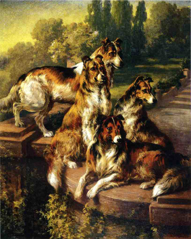 Collie Dogs in Formal Garden by Edmund H. Osthaus | Abstract Oil Paintings - Oil Paintings Gallery