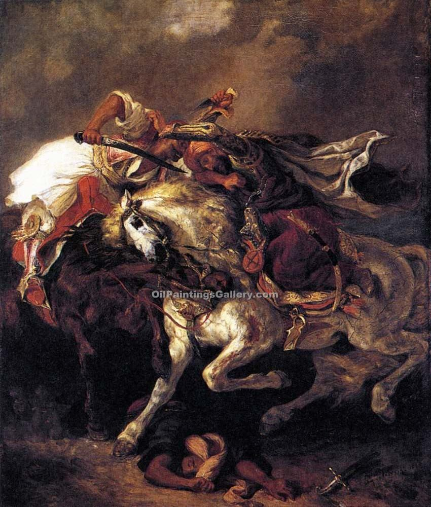"""Combat of the Giaour and the Pasha"" by  Eugene Delacroix"