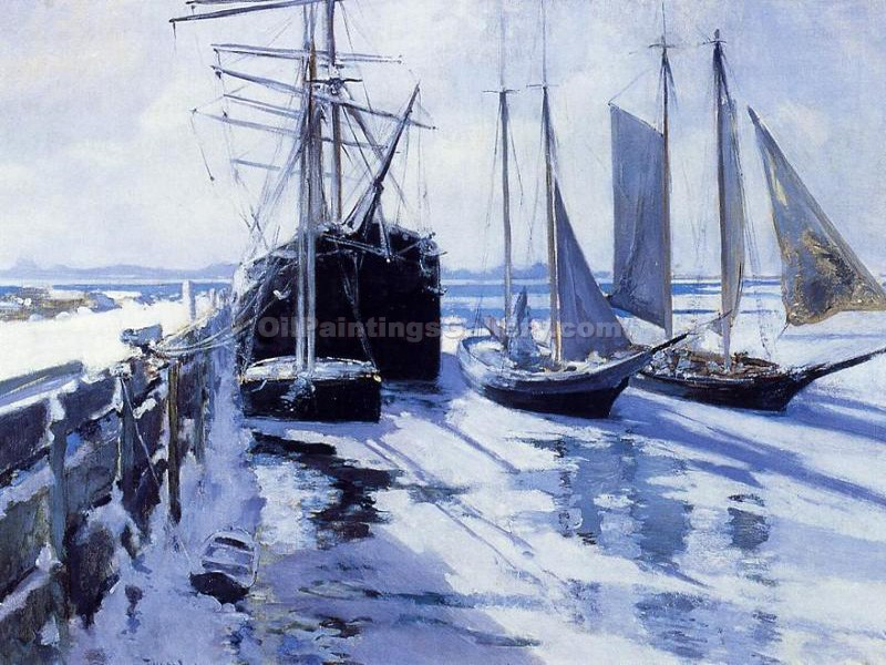 Connecticut Shore, Winter by John Twachtman | Original Artworks - Oil Paintings Gallery