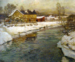 Cottage by a Canal in the Snow by  Fritz Thaulow (Painting ID: LA-0592-KA)
