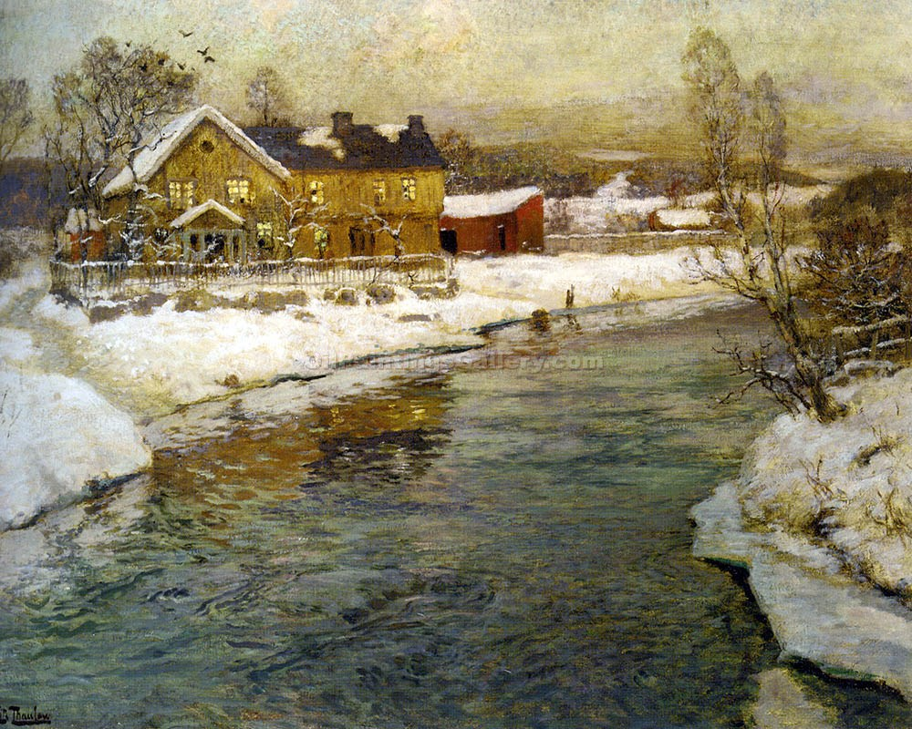 """Cottage by a Canal in the Snow"" by  Fritz Thaulow"