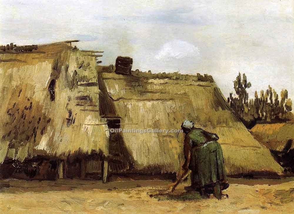"""Cottages with Woman Digging"" by  Vincent Van Gogh"