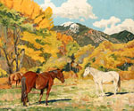 Cottonwood and Wild Horses by  Walter Ufer (Painting ID: LA-2465-KA)