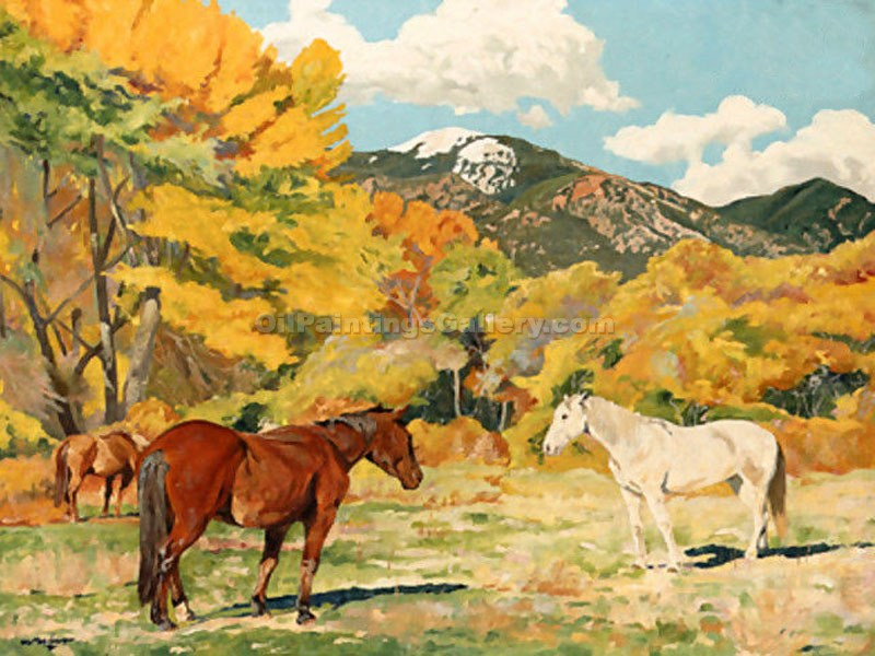 """Cottonwood and Wild Horses"" by  Walter Ufer"
