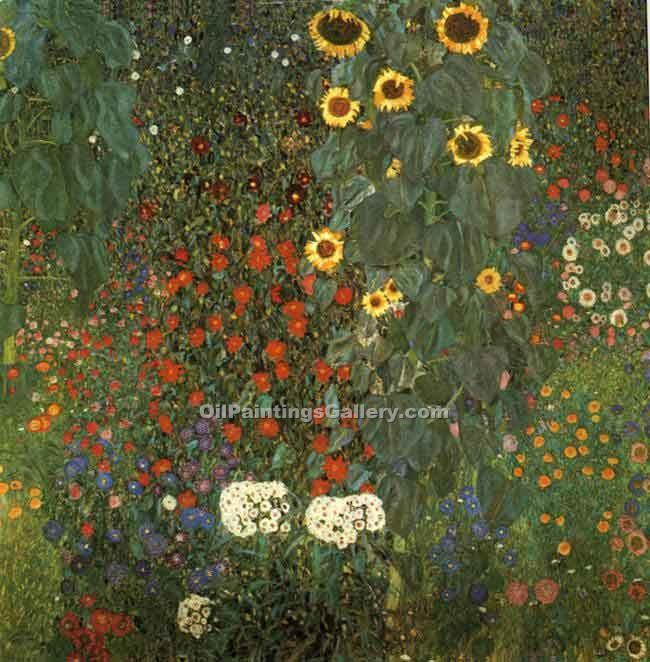 """Country Garden with Sunflowers"" by  Gustav Klimt"