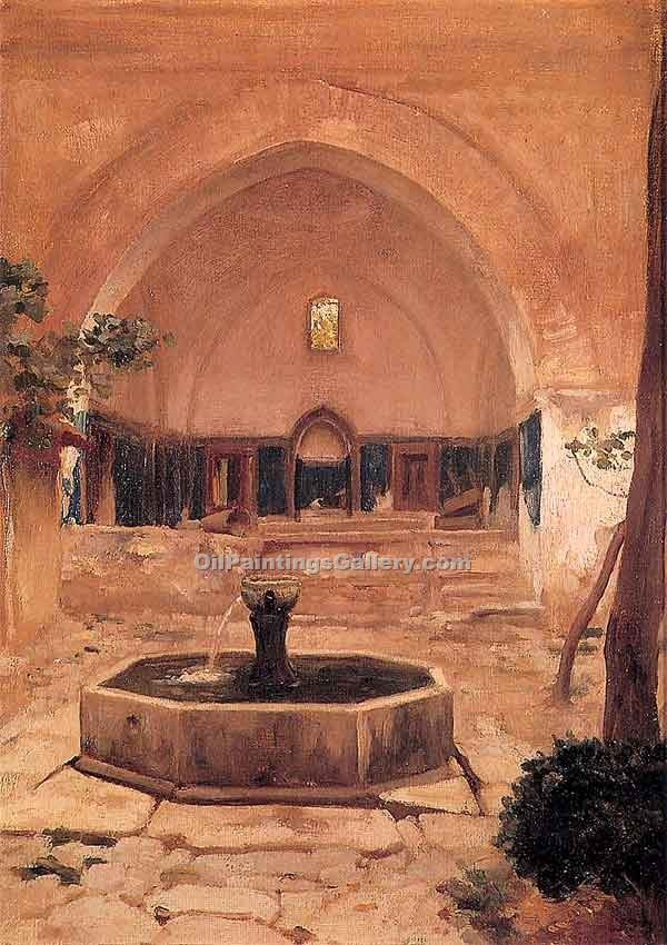 """Courtyard of a Mosque at Broussa"" by   Leighton Frederic"