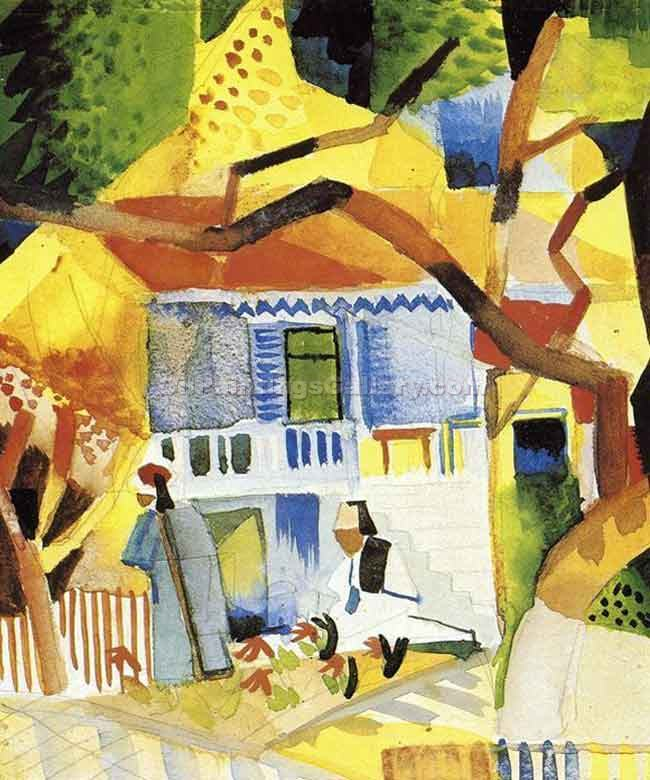 """Courtyard of a Villa at St. Germain"" by  August Macke"