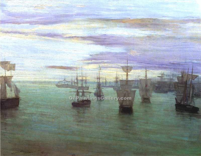 """Crepuscule in Flesh Colour and Green Valparaiso"" by  James McNeill  Whistler"