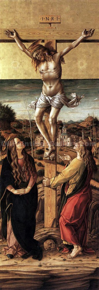 """Crucifix with the Virgin and St. John the Evangelist"" by  Carlo Crivelli"