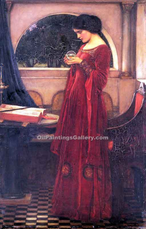 Crystal Ball by Waterhouse John William | Watercolor Painting Gallery - Oil Paintings Gallery