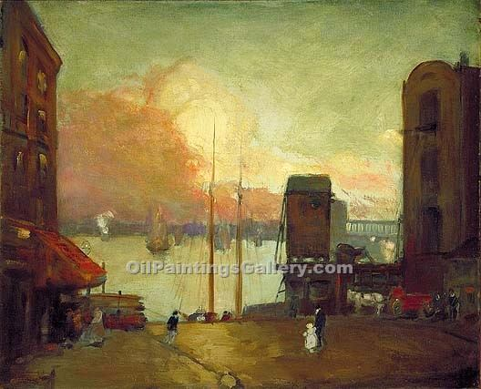 """Cumulus Clouds East River"" by  Robert Henri"