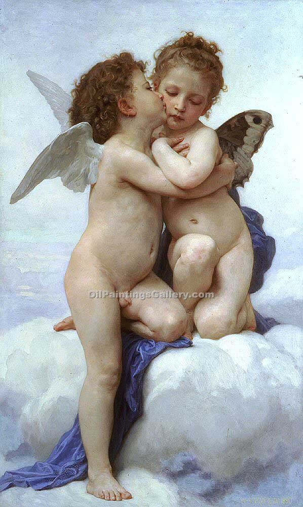 """Cupid and Pcyche as Children"" by  Adolphe Bouguereau"