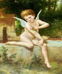 Cupid with a Flower 00 by  Adolphe Bouguereau (Painting ID: DA-7100-KA)