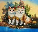 Cute Kitties Oil Painting (ID: AN-1120-A)