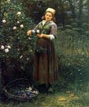 Cutting Roses by  Daniel Ridgway Knight (Painting ID: EI-0907-KA)