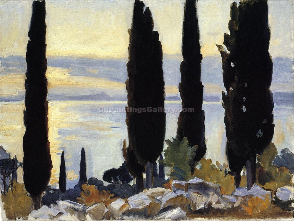 """Cypress Trees at San Vigilio"" by  John Singer Sargent"