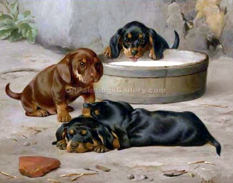 """Dachshund Puppies"" by  Otto Bache"